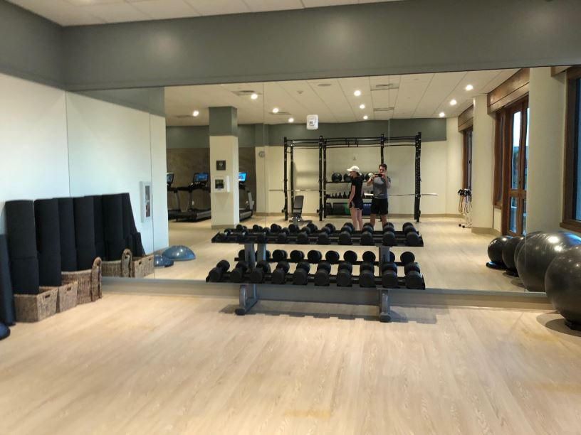 The dumbbell section of the gym at Hapuna