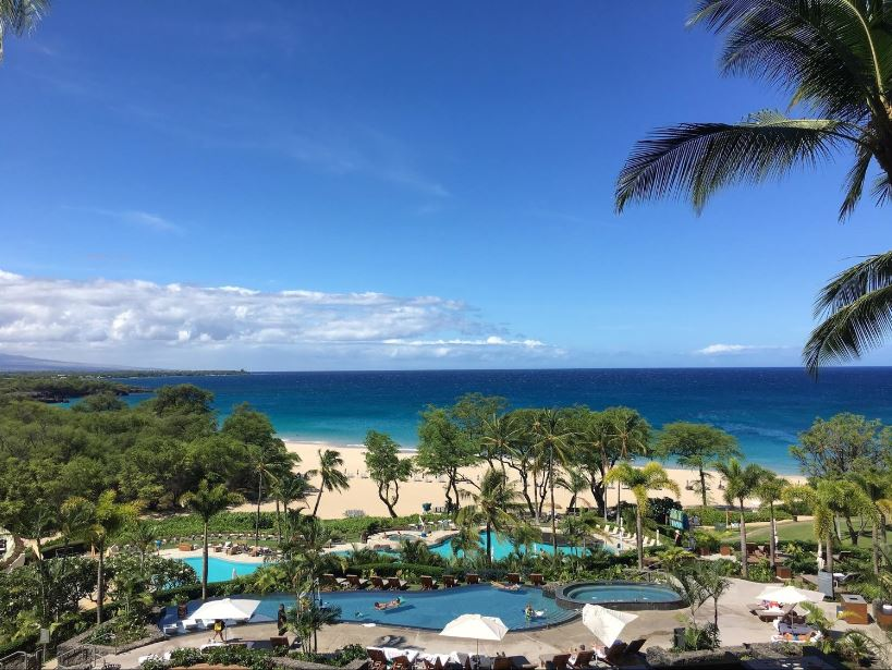 View from Ikena Landing out to both the kids and adult pools and the pristine Hapuna Beach