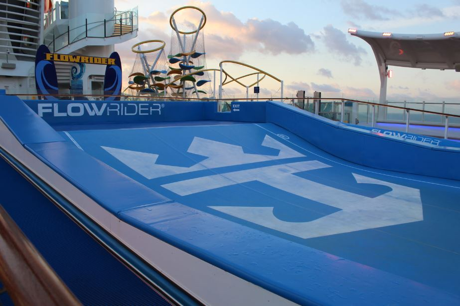 Royal Caribbean ships are equipped with all sorts of on-board activities. The Mariner of the Seas is home to a Flowrider, rock wall, waterslides, climbing structure, basketball court, mini golf course, escape room, ice rink, arcade and more!