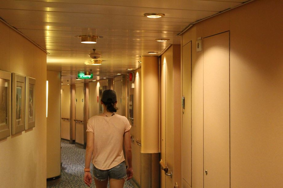Exploring the cruise ship to find our stateroom for the duration of the cruise.
