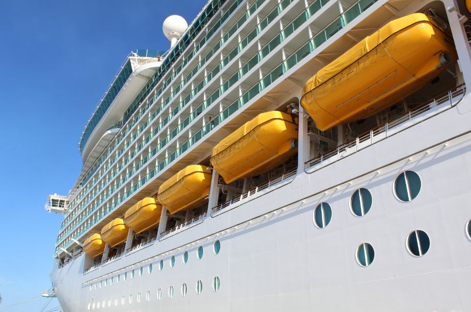 Each cruise ship is equipped with life boats in case of an unlikely emergency.