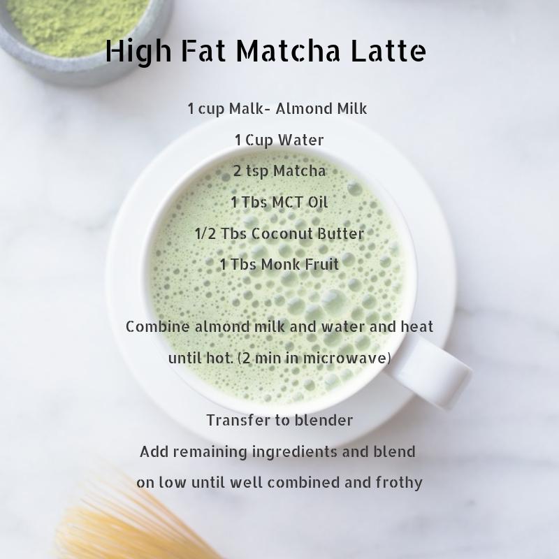 High Fat Matcha Latte 1 cup Malk- Almond Milk 1 Cup Water 2 tsp Matcha 1 Tbs MCT Oil 1_2 Tbs Coconut Butter 1 Tbs Monk Fruit.png