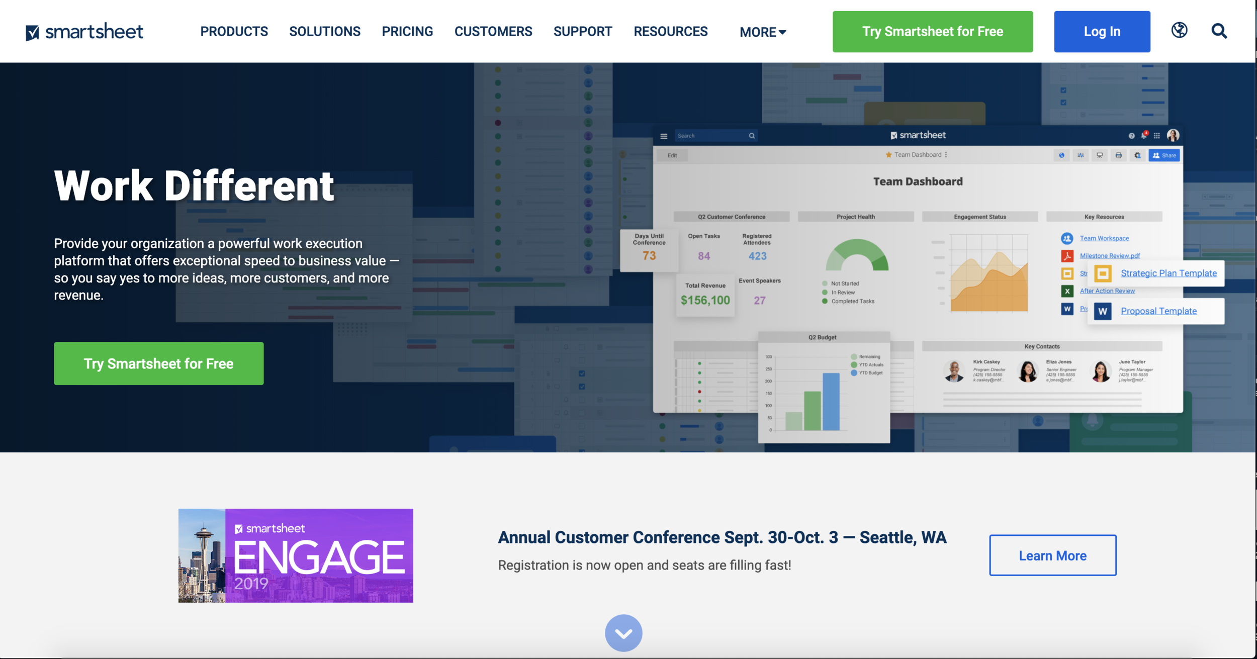 Smartsheet homepage after the redesign