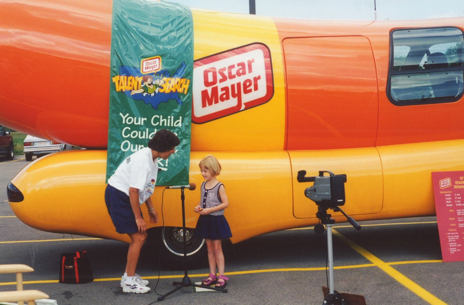 """Here I am at age 6, boldly sporting a bowl cut, and auditioning to sing the """"Wiener Jingle"""" for a Super Bowl ad. Was not joking when I said this was my childhood dream job."""