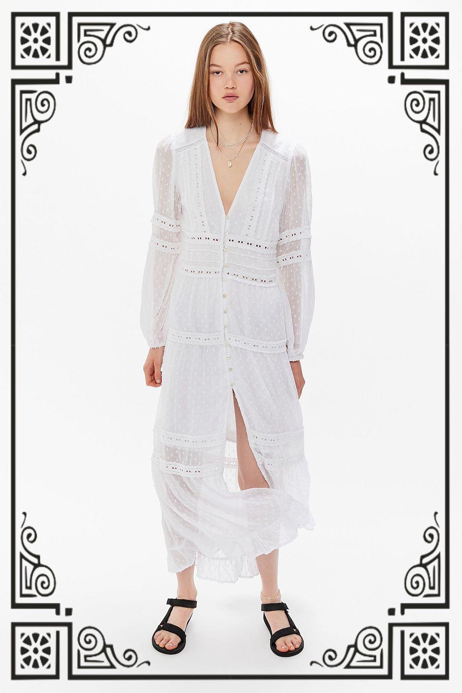 RAHI Solstice Lace Inset Button-Front Maxi Dress ($159)