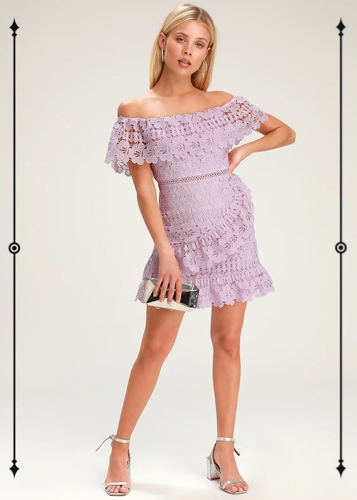 Lulus Frill and Grace Lavender Lace Off-the-Shoulder Dress  ($54, on sale from $67)