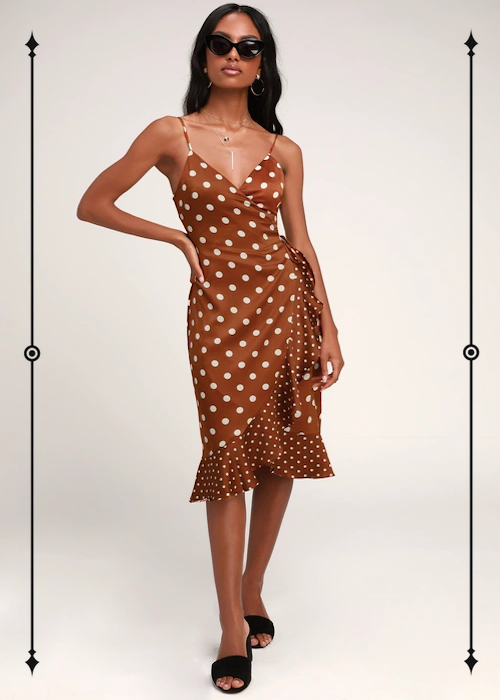 Lulus Love Dottie Brown Polka Dot Satin Wrap Dress  ($58)