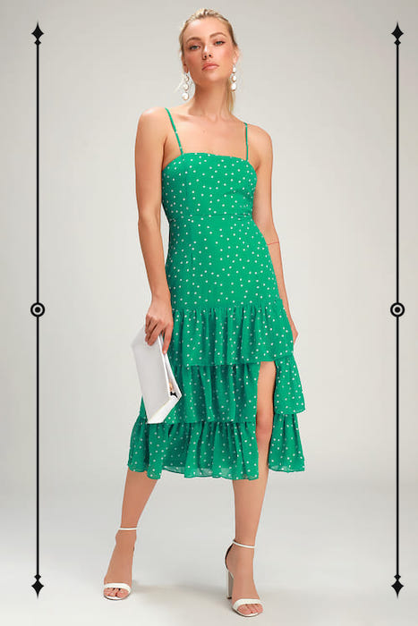 Lulus Nellie Green Polka Dot Ruffled Midi Dress  ($34, on sale from $68)