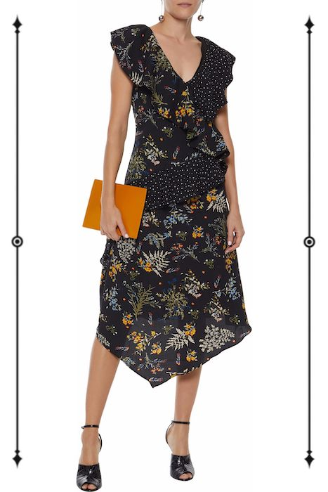 W118 by Walter Baker Emi Ruffled Printed Crepe de Chine Midi Dress  ($90, on sale from $228)