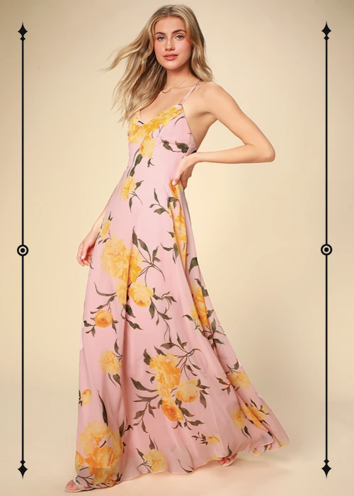Lulus Endless Endearment Blush Floral Print Maxi Dress  ($92)
