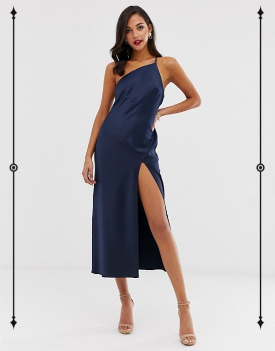 ASOS Design One Shoulder Midaxi Dress in Satin With Drape Back  ($72)