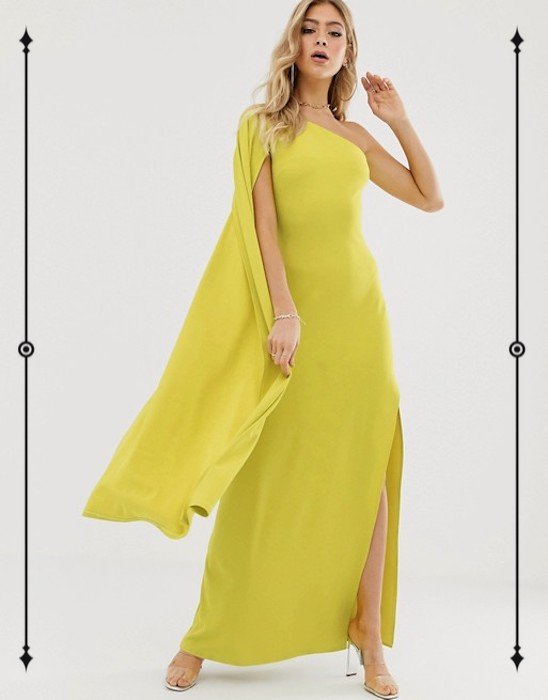 ASOS Design One Shoulder Cape Sleeve Maxi Dress  ($72)