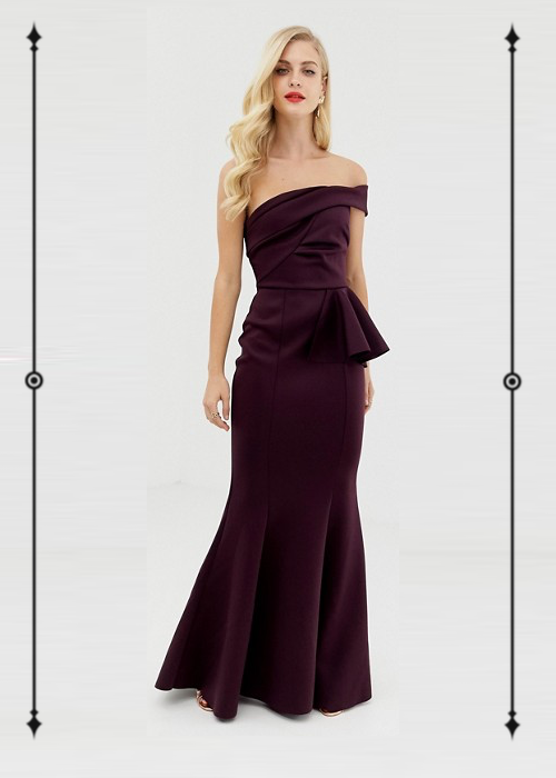 ASOS Design Bardot Fold Detail Fishtail Maxi Dress  ($67, on sale from $95)