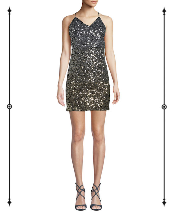 Bardot Glimmer Sequined V-Neck Short Cocktail Dress  ($82, on sale from $169)