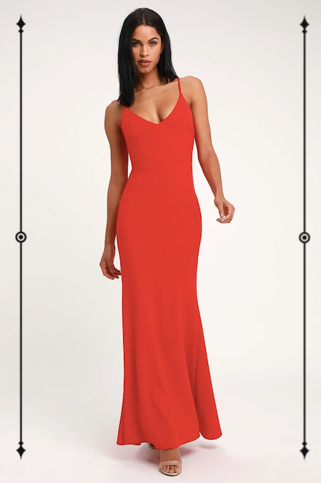 Lulus Infinite Glory Coral Red Maxi Dress  ($84)
