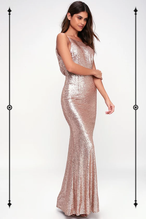 Lulus Chic Celebration Champagne Sequin Maxi Dress  ($94)