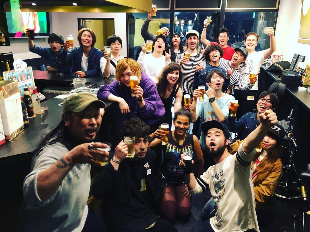 Customary afterparty toast at Asakusa Goldsounds