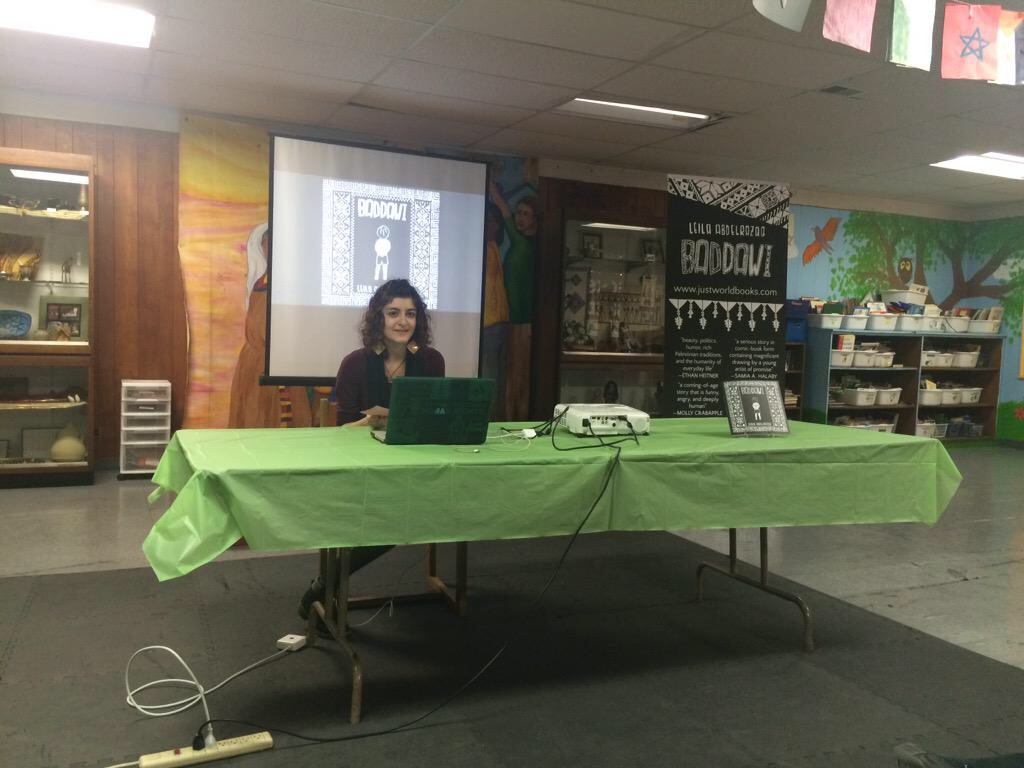 Leila Abdelrazaq speaks about her graphic novel, Baddawi, at the Arab American Action Network, during her book launch on April 8