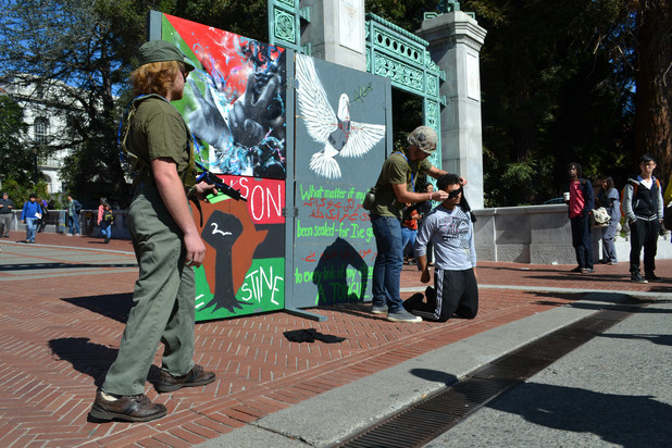 Students for Justice in Palestine at the University of California at Berkeley held a mock checkpoint to highlight Israel's inhumane policies.
