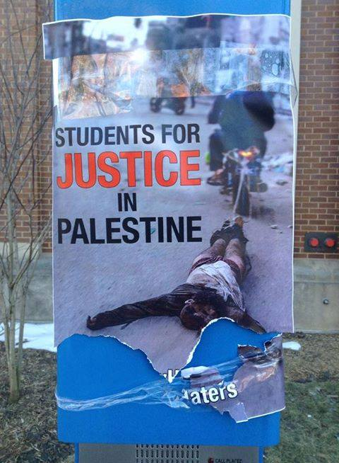 """One of the posters depicting Students for Justice in Palestine as """"Jew Haters"""" was seen at DePaul University"""
