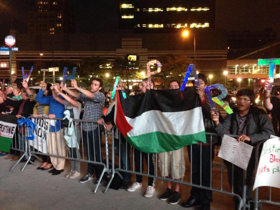 Approximately 200 demonstrators protested outside of the Barclays Center in Brooklyn, New York as a fundraiser for Friends of the IDF occurred inside the arena on Oct. 7.