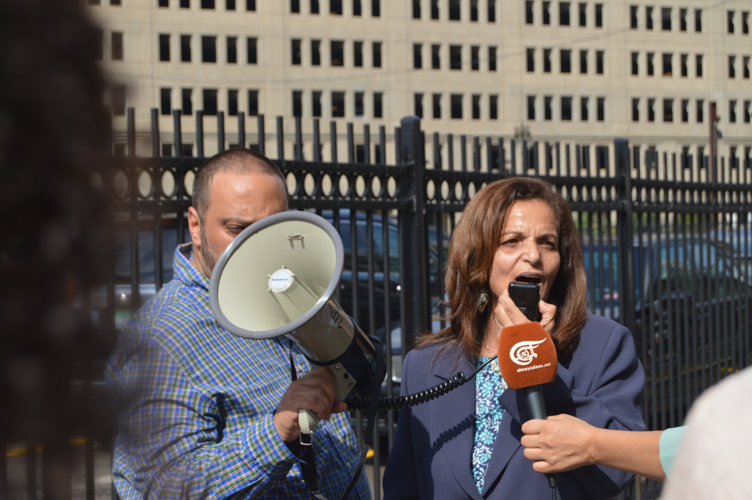 Rasmea Odeh addressed her supporters and journalist across the street from the Theodore Levin United States Courthouse in Detroit on Sept. 2.