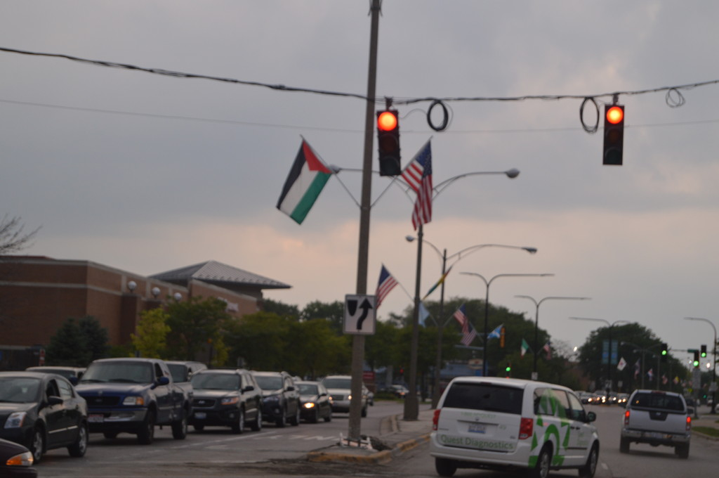 The Village of Lincolnwood received several complaints about the Palestinian flag in the photo above. The flag is a part of the village's diversity month. | Nader Ihmoud