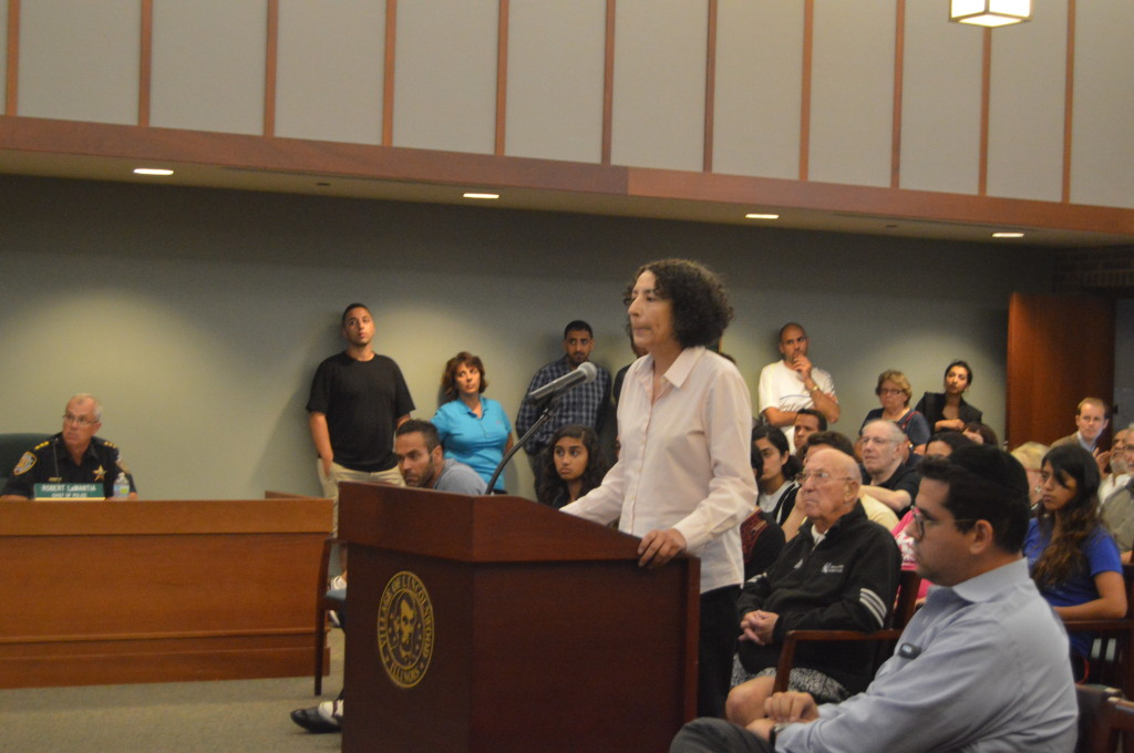 Palestinian-American Maha Jarad addressed the Lincolnwood Human Relations Commission in support of the Palestinian flag on Aug. 11. | Nader Ihmoud