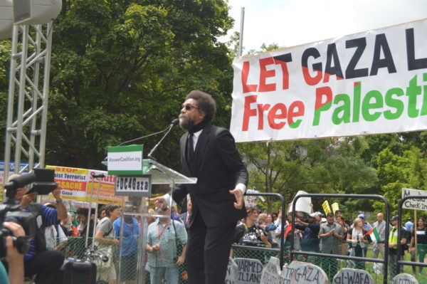 Aug. 2, 2014|Cornel West called President Obama and Israeli Prime Minister Benjamin Netanyahu war criminals during his speech before the National March on the White House.