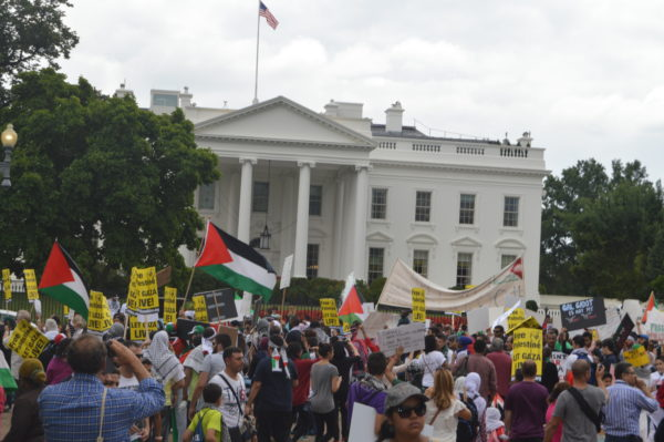 Aug. 2, 2014|Before the march, many protestors gathered in front of the White House.