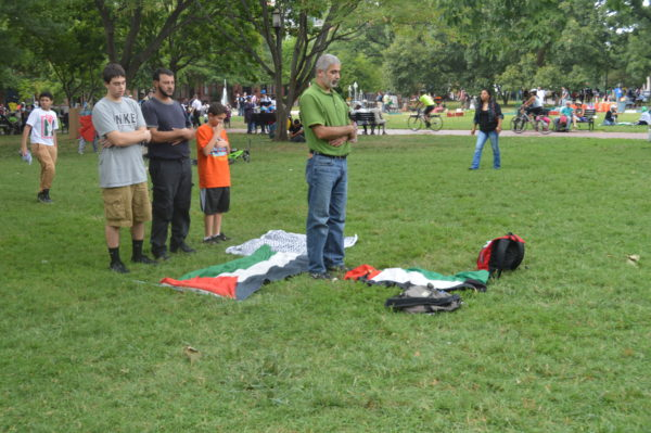 Aug. 2, 2014 | Muslim protestors pray on the lawn after the march to the White House.