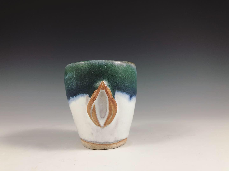Handmade Yoni Tumbler with white stoneware clay.