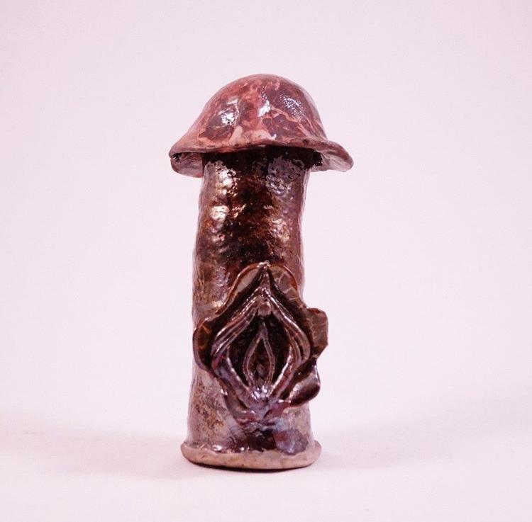 Mushroom c*ck with a yoni flower. White stoneware raku fired 2017.