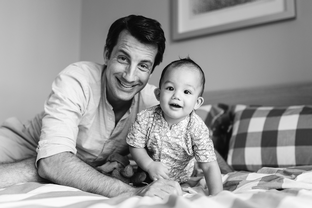 Founder David with his son Jakob when he had just grown out of his infant car seat.