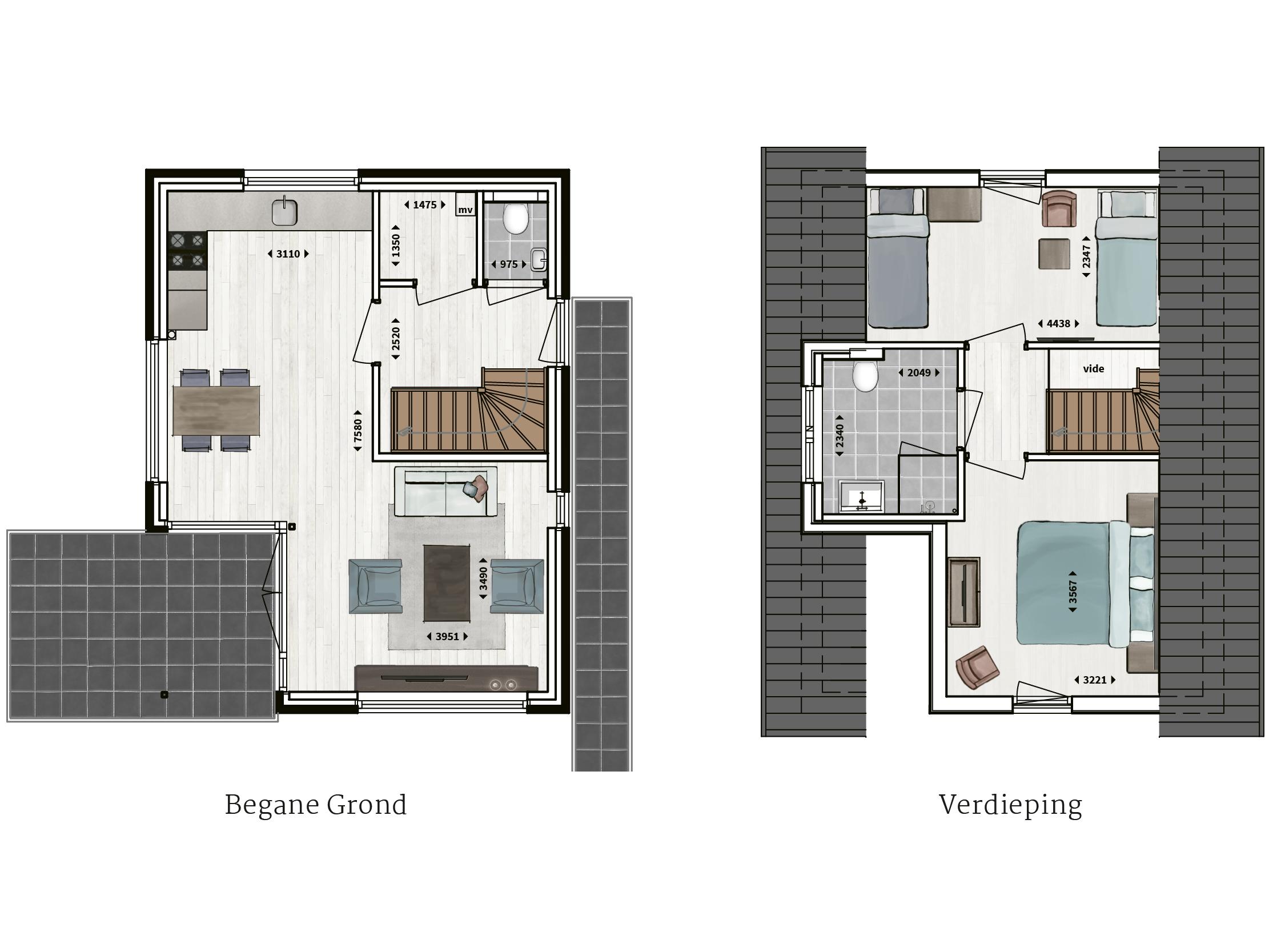Kenmerken - - Pannengedekt- Gevel van overwegend metselwerk met houtaccenten- Twee ruime slaapkamers- Badkamer met inloopdouche- Compleet ingerichte keuken- Glazen hoekpui- Overdekt terras- Buitenberging
