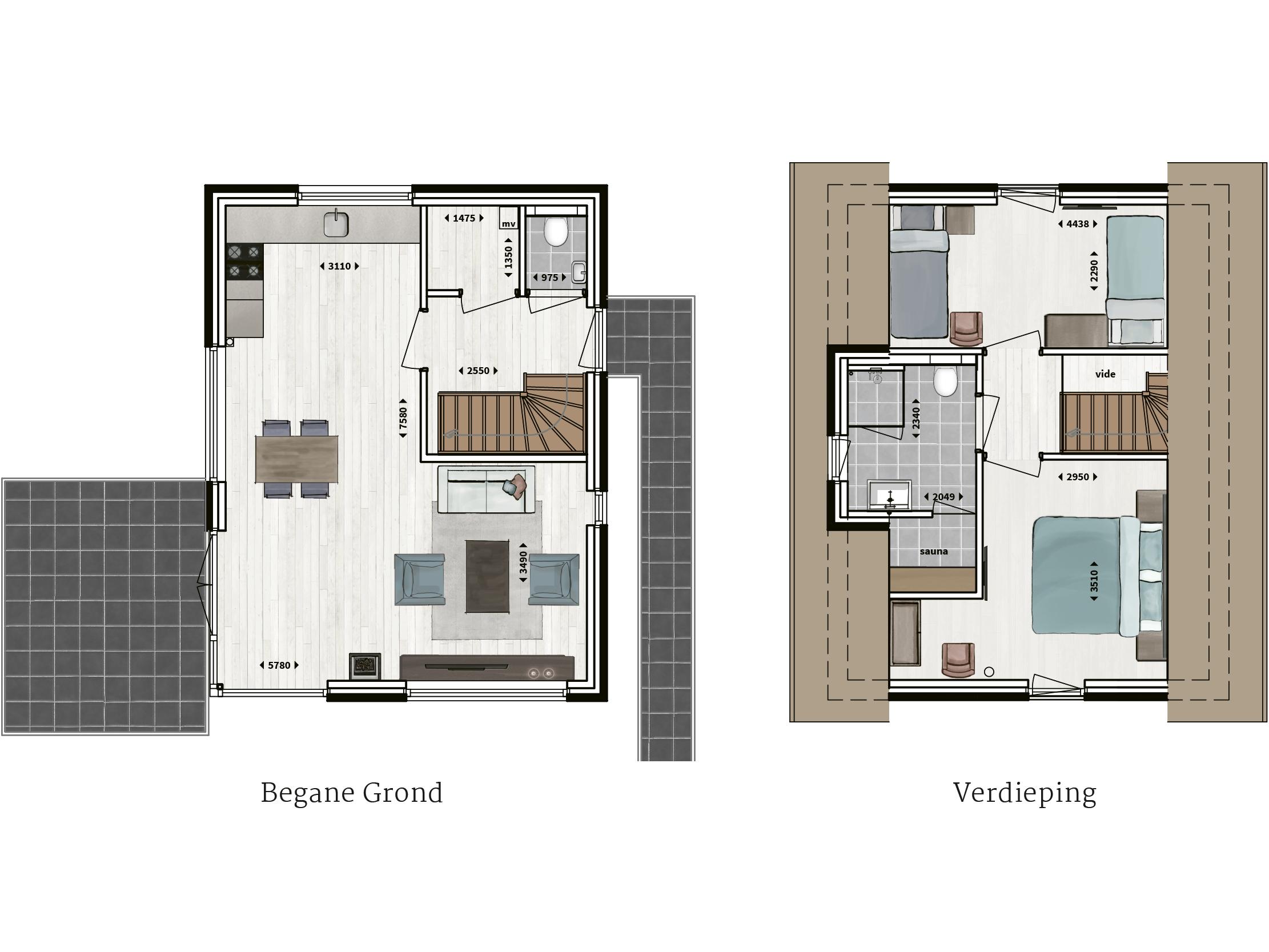 Kenmerken - - Rietgedekt- Gevel van metselwerk- Twee ruime slaapkamers- Badkamer met inloopdouche en sunshower- Sauna- Compleet ingerichte keuken- Houtkachel- Glazen hoekpui- Buitenberging