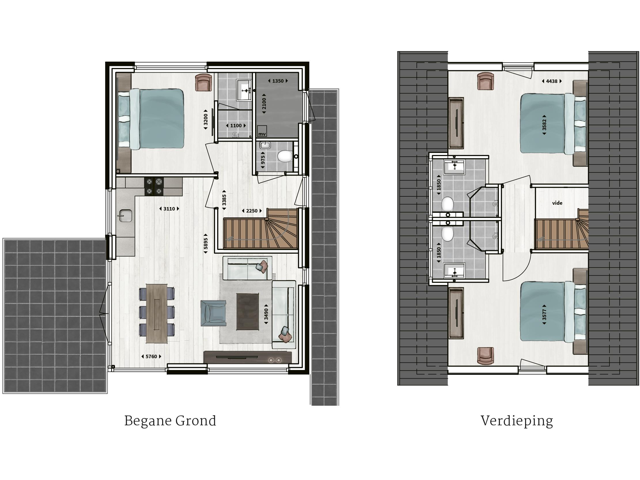 Kenmerken - - Pannengedekt- Gevel van metselwerk en hout- Drie slaapkamers- Drie badkamers en suite met inloopdouche en waarvan twee met een eigen toilet- Compleet ingerichte keuken- Glazen hoekpui- Buitenberging