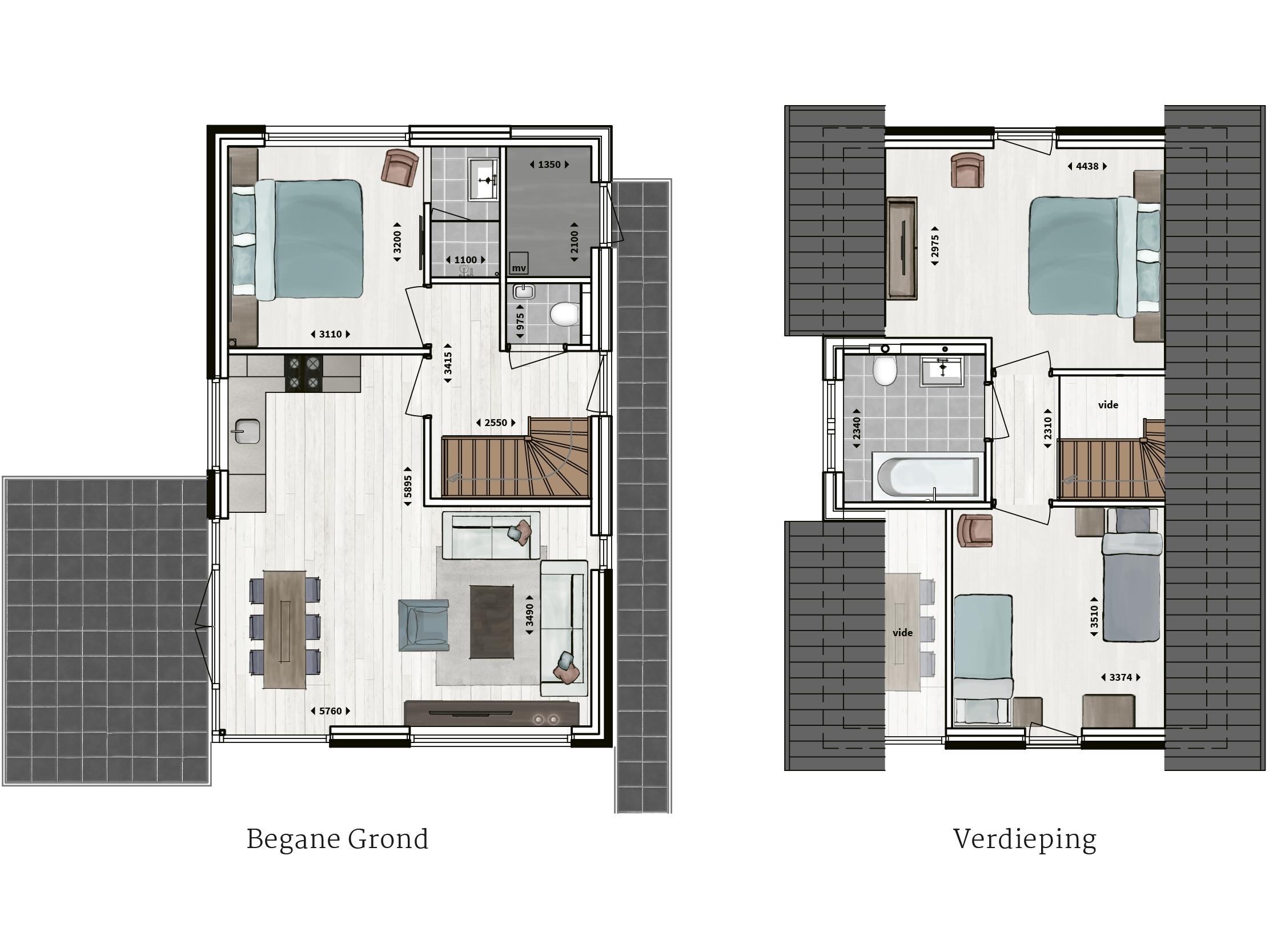 Kenmerken - - Pannengedekt - Gevel van overwegend metselwerk met houtacccenten- Drie slaapkamers- Twee badkamers met inloopdouche of ligbad- Compleet ingerichte keuken- Woonkamer met vide- Glazen hoekpui- Buitenberging