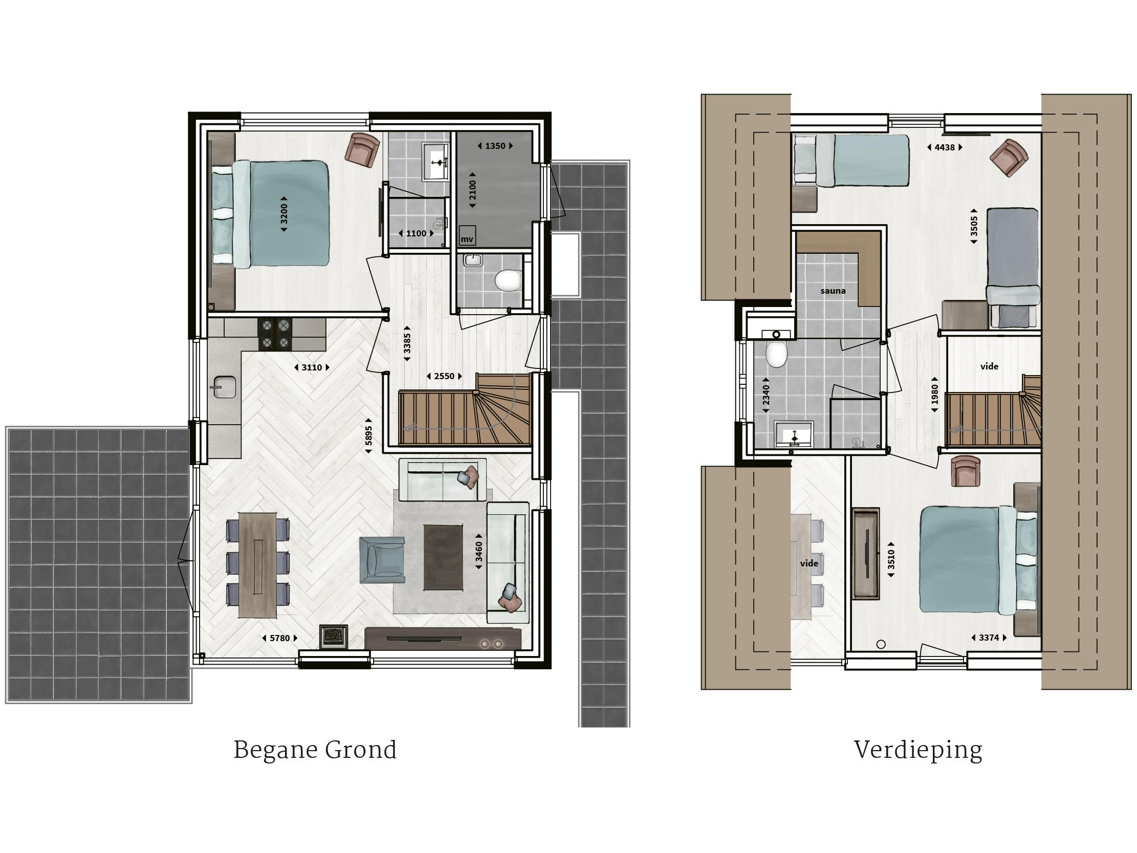 Kenmerken - - Rietgedekt- Gevel van metselwerk met gevelstuc- Drie slaapkamers- Twee badkamers met inloopdouche en sunshower- Sauna- Compleet ingerichte keuken- Houtkachel- Glazen hoekpui- Vide in woonkamer- Buitenberging