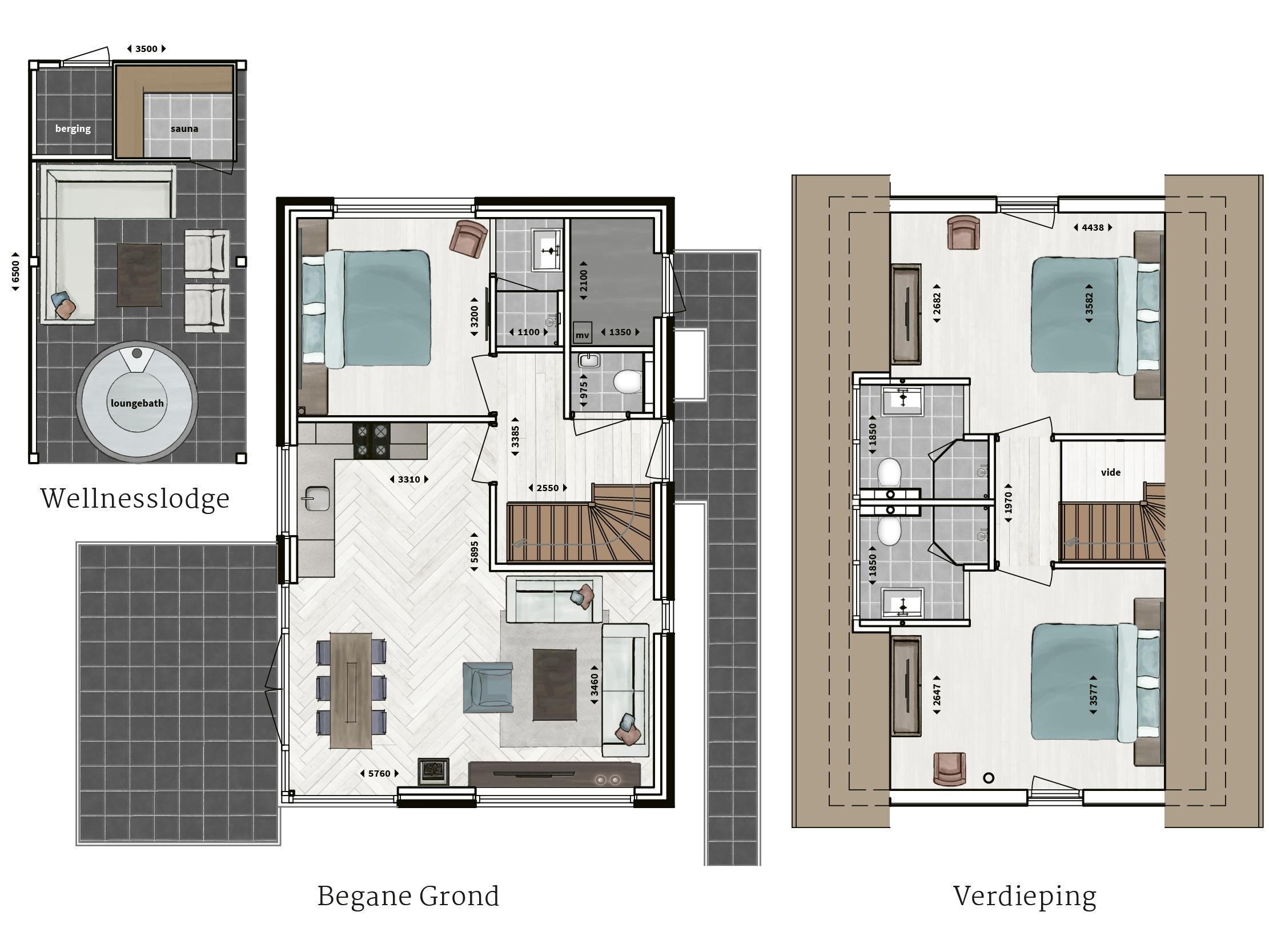 Kenmerken - - Rietgedekt- Gevel van metselwerk met gevelstuc- Drie slaapkamers- Drie badkamers met inloopdouche en sunshower- Compleet ingerichte keuken- Houtkachel- Glazen hoekpui- Buitenberging- Wellnesslodge met sauna, loungebad met buitenhaard en buitendouche