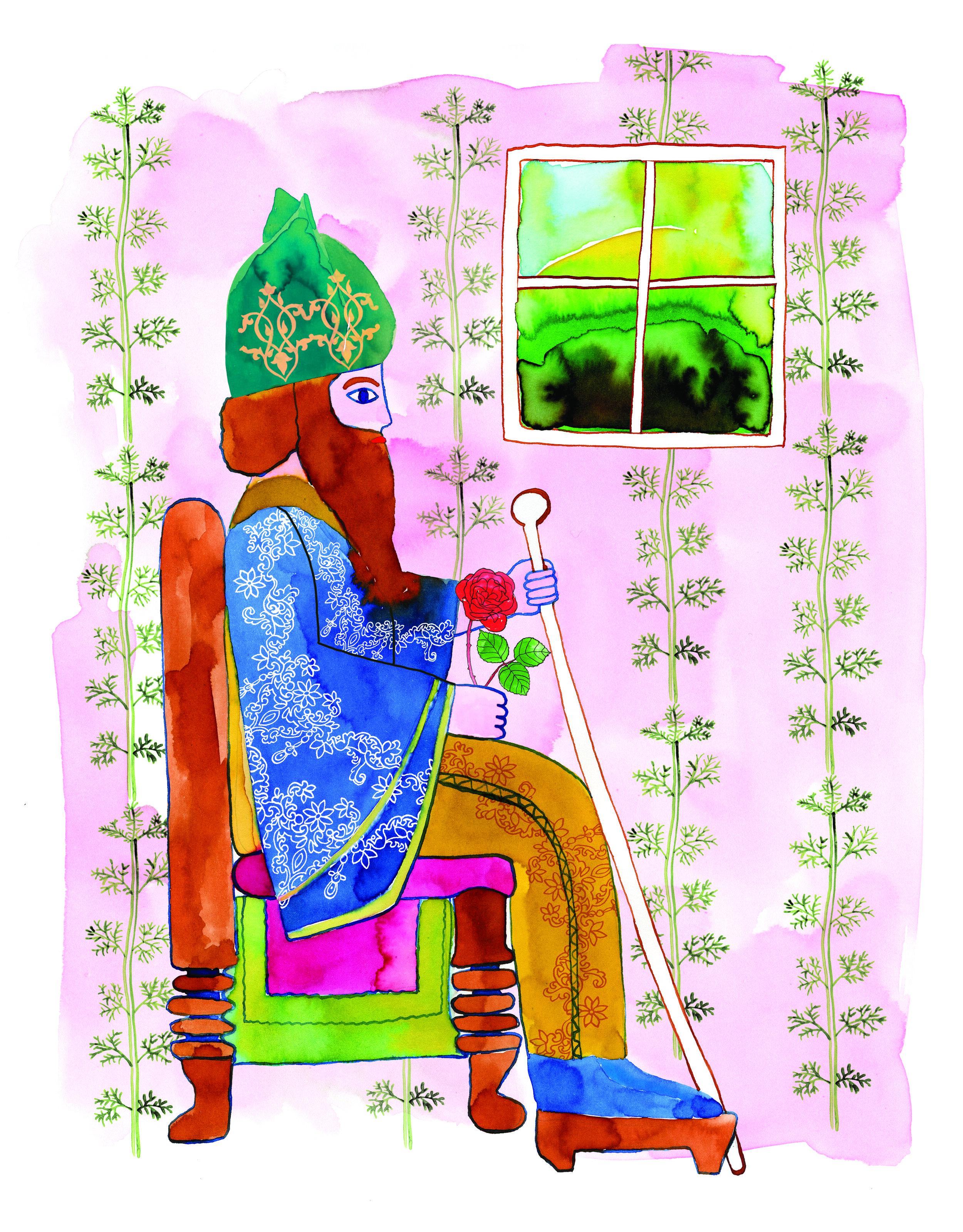 """- 'Er was eens een koning in een land hier ver vandaan. Zijn naam was Cyrus. Als kleine prins zwierf Cyrus door de natuur en toen hij koning werd, bouwde hij een tuin: een Paradijstuin. Midden in deze tuin zette de koning zijn troon neer. Tussen de bloemen en de fruitbomen.""""De mooiste plek op aarde"""", zo sprak hij. De koning vond tuinieren het fijnste wat er is. Hij leerde alle kinderen in het land hoe je met planten je eigen paradijs kan maken.'Het woord 'paradijs' komt van het oud-Perzische woord, 'pairidaeze'. Het betekent: 'een ommuurde boomgaard, tuin of park'. De oude Perzen waren de eersten die het paradijs nabootsten in hun achtertuin. In de 6e eeuw voor Christus legde de koning Cyrus II de eerste paradijstuin aan. Ook kennen we allemaal de tuin van Eden – uit Bijbel en Koran – en de hangende tuinen van Babylon. Later werden de Islamitische of Moorse tuinen aangelegd, als bijvoorbeeld het Alhambra in Granada en de Taj Mahal in India. Weer later in Parijs, de tuinen van Versailles. Kortom, paradijstuinen zijn zo oud als de mens en bestaan in alle soorten en maten."""
