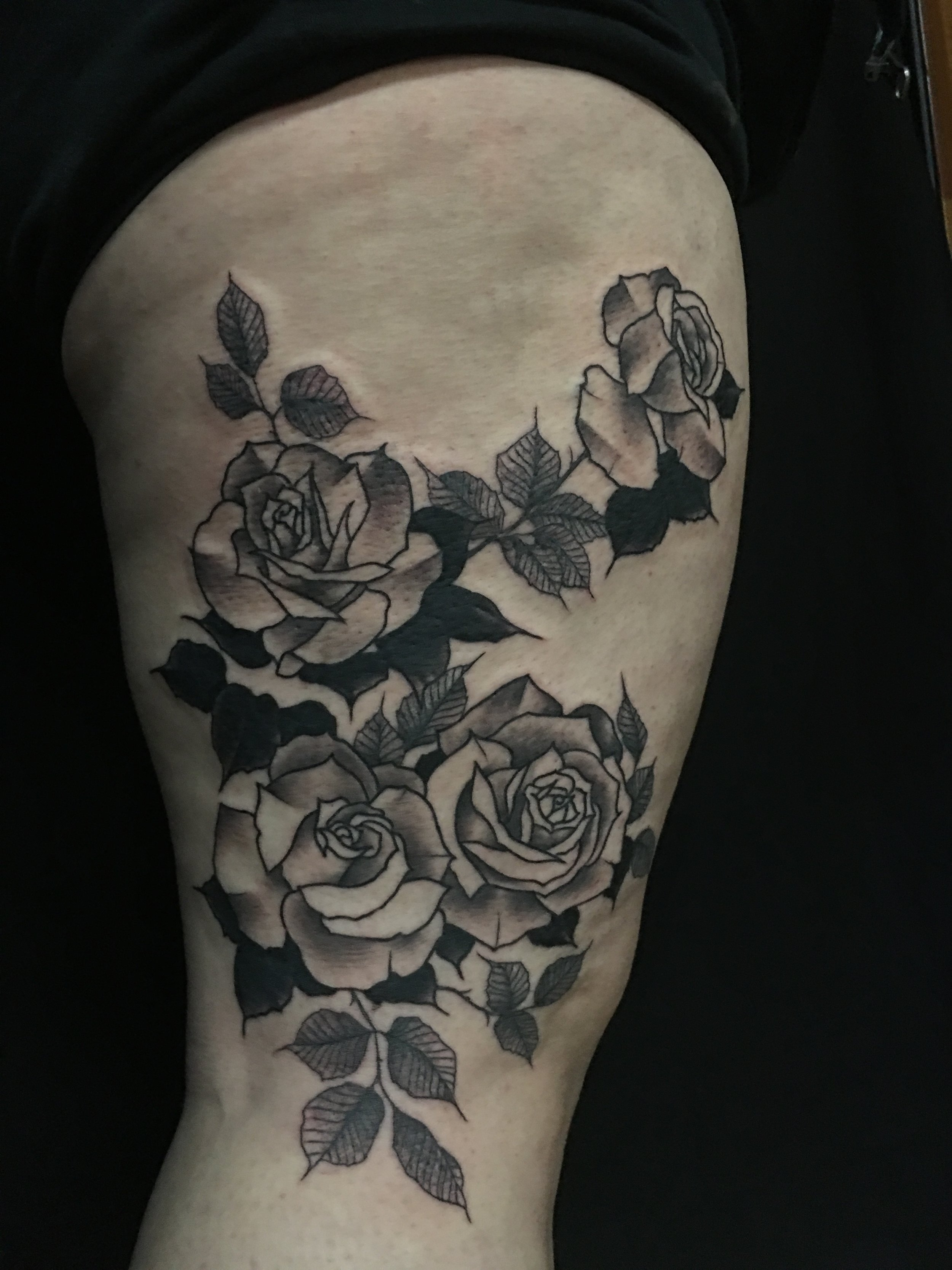 tattoo by brian foster EST riverside black work rose
