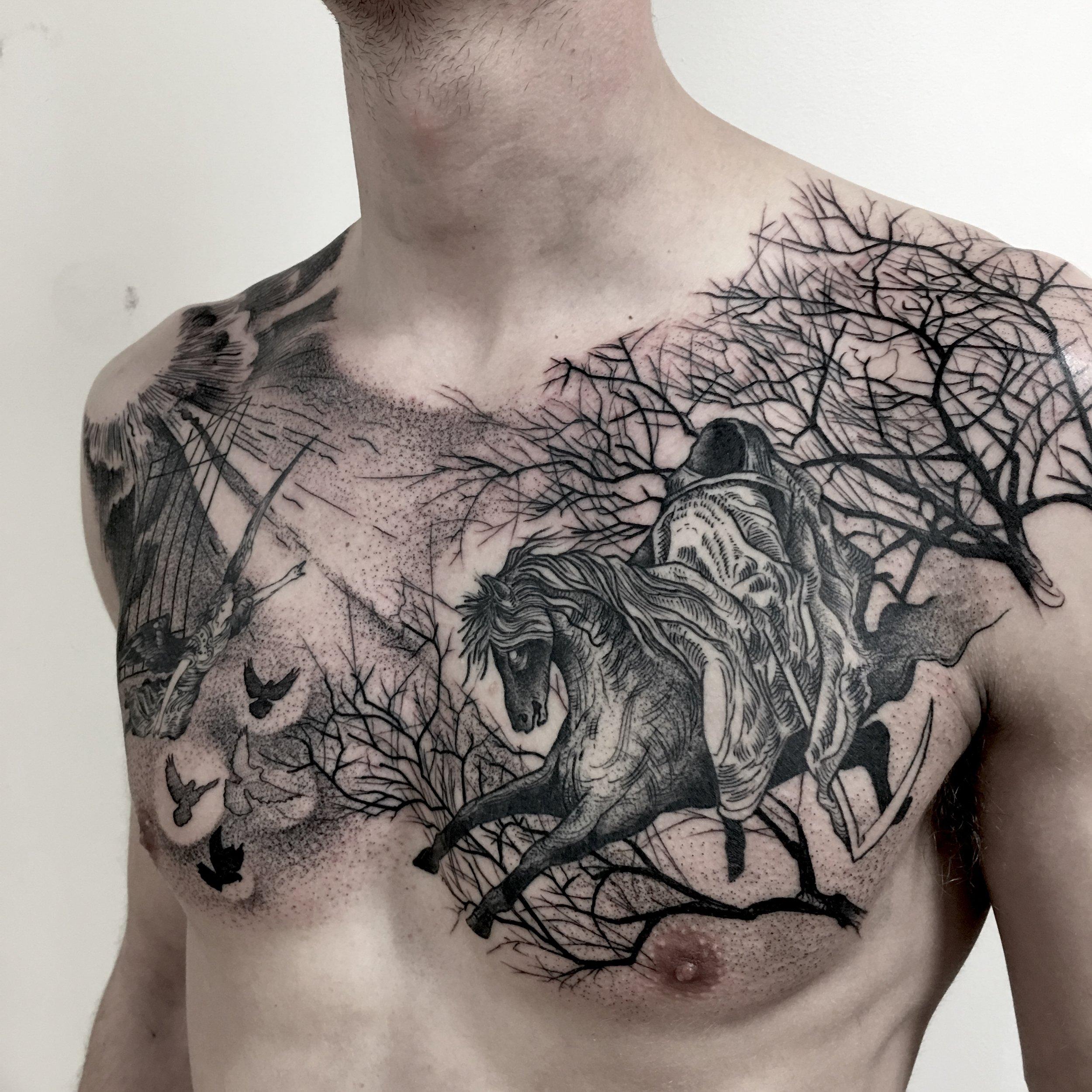 tattoo by brian foster EST riverside black work