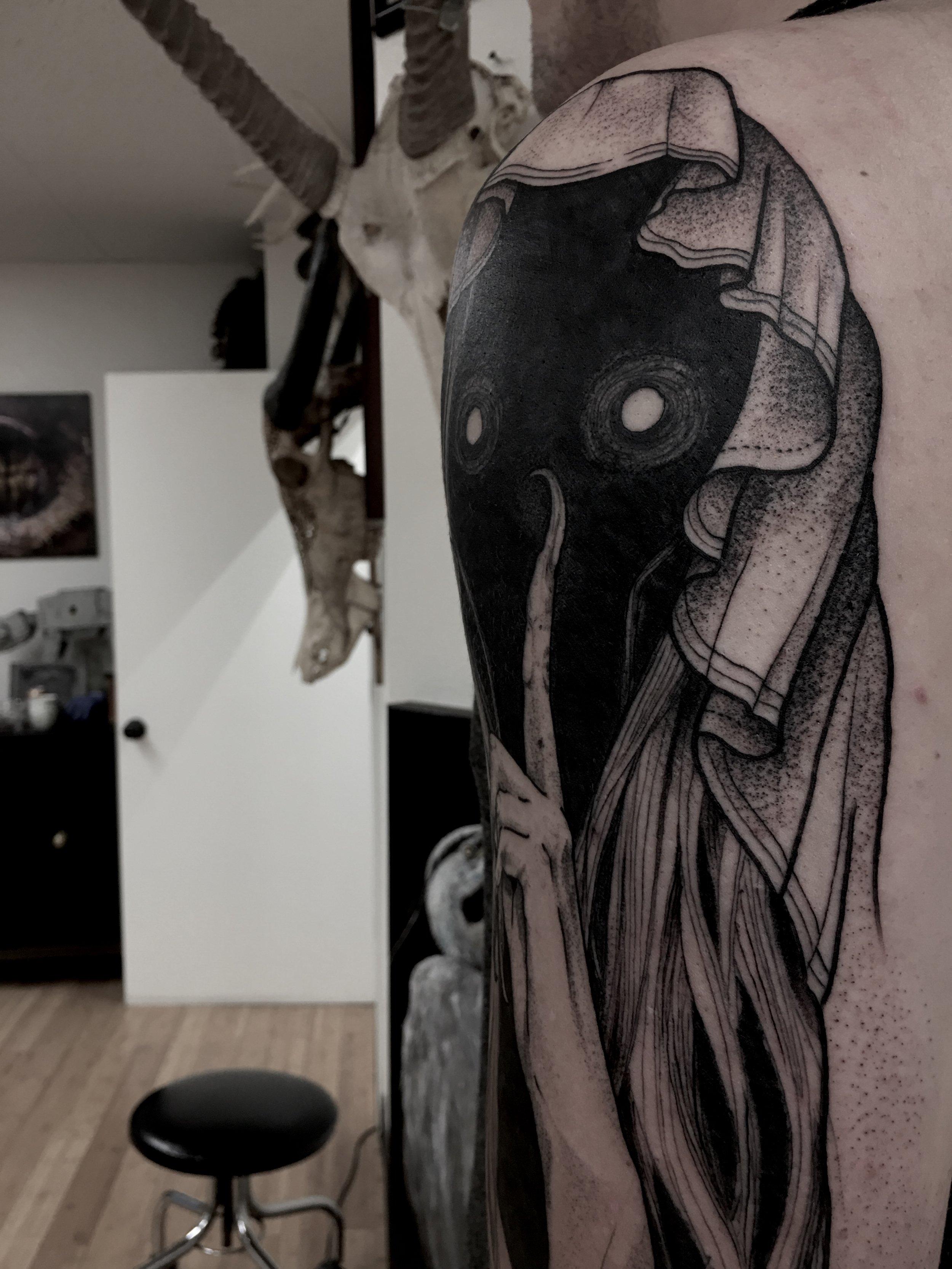 tattoo by brian foster EST riverside black work riverside