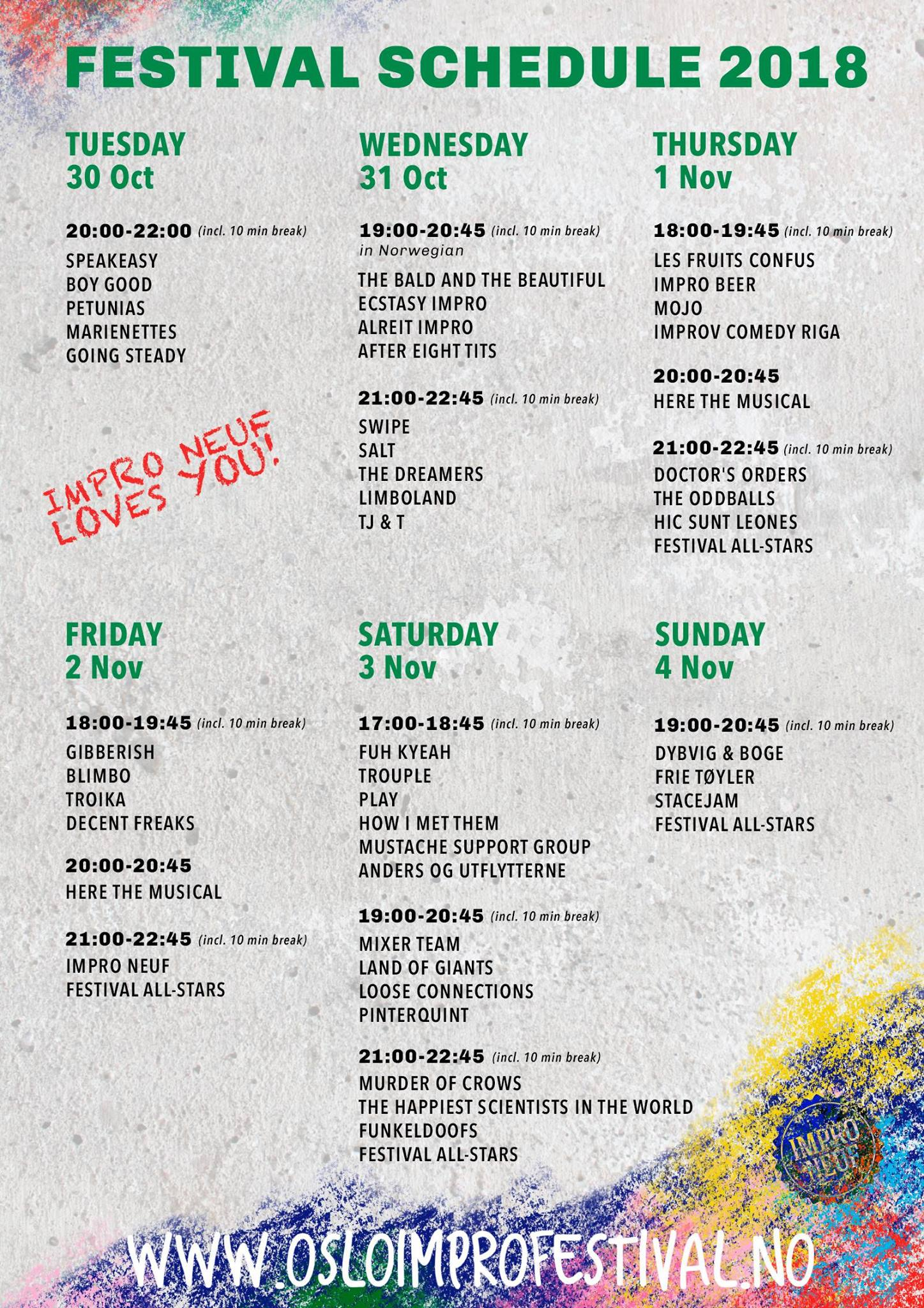 Performance schedule 2018
