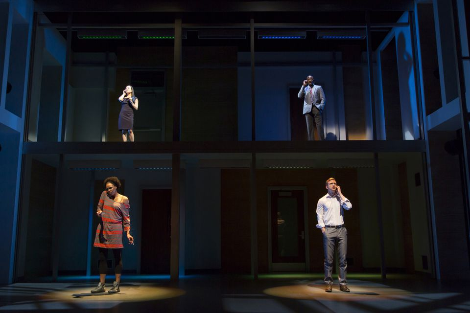"Clockwise (from top left): Eunice Wong, McKinley Belcher III, Roderick Hill, and Miranda Craigwell star in Huntington Theatre's production of Lydia R. Diamond's ""Smart People."""