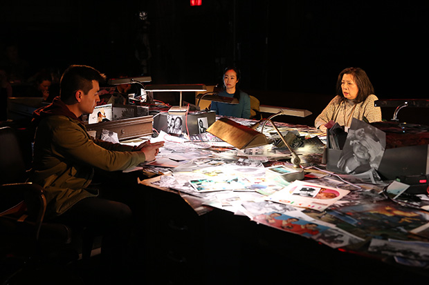 David Huynh, Eunice Wong, and Mia Katigbak star in Daniel Berrigan's  The Trial of the Catonsville Nine , directed by Jack Cummings III, for Transport Group at NAATCO at Abrons Arts Center. © Carol Rosegg