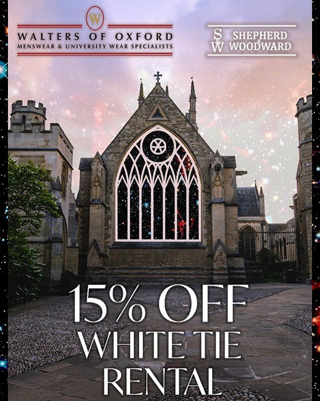 💫WHITE TIE DISCOUNT💫  We are proud to be partnering with @shepherd_and_woodward and @waltersofoxford to give you 15% off your Full White Tie Rental and 10% off other purchases with your Merton Winter Ball Ticket.  Check out the website for full details!  #MWB19