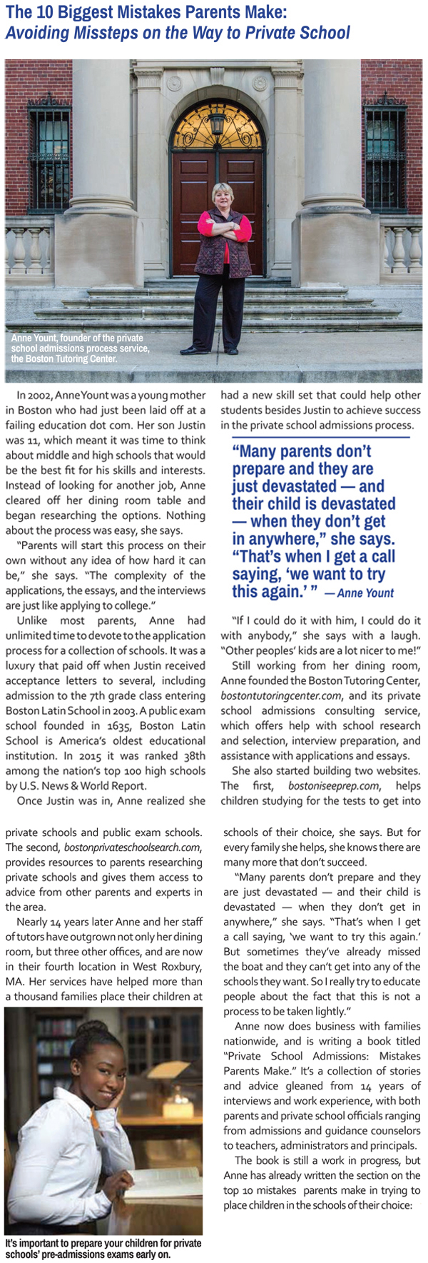 Ms. Anne's interview with The Washington Post about mistakes parents make in private  school admission
