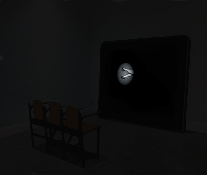 Parse, 2014. Unseen Presence, Irish Museum of Modern Art, Dublin. Projected animation, colour and sound, total duration 00:14:34, excerpt 00:07:44. Video Projection, Seats and Screen Dimensions variable; wood, painted canvas and sponge.